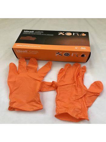 Перчатки нитриловые Mercator Medical ideall GRIP+ (ORANG) XL 50 шт Оранжевые