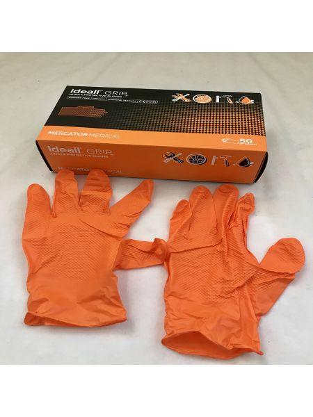 Перчатки нитриловые Mercator Medical ideall GRIP+ (ORANG)  p. L 50 шт Оранжевые