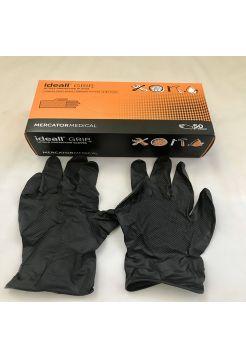 Перчатки нитриловые Mercator Medical ideall GRIP+ (black) XL 50 шт Черные