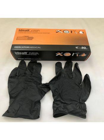Перчатки нитриловые Mercator Medical ideall GRIP+ (black) М 50 шт Черные