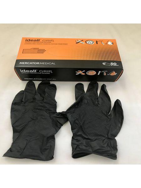 Перчатки нитриловые Mercator Medical ideall GRIP+ (black) L 50 шт Черные