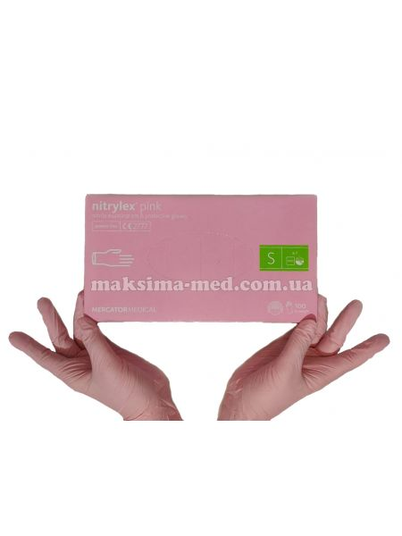 Перчатки нитриловые н/с, не/опудр, Nitrylex PINK, розовые р. S (6-7) 50 пар (100 шт/уп)