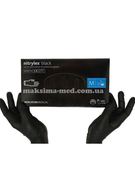 Перчатки нитриловые н/с, не/опудр, Nitrylex BLACK, черные р. M(7-8) 50 пар (100 шт/уп)