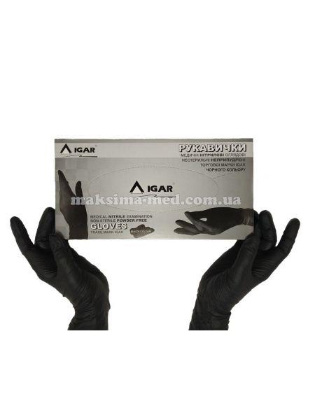 Перчатки нитриловые н/с, не/опудр, IGAR р. L (8-9) черные, 100 пар (200 шт/уп)