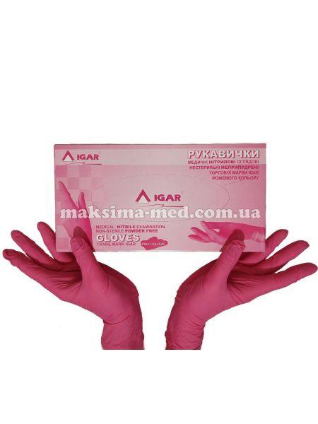 Перчатки нитриловые н/с, не/опудр, IGAR р. M (7-8), розовые, 100 пар (200 шт/уп)