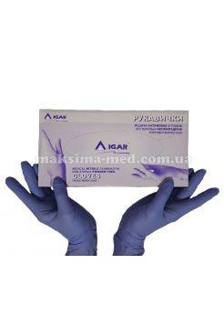 Перчатки нитриловые н/с, не/опудр, IGAR р. XS (5-6), сиреневые, 100 пар (200 шт/уп)