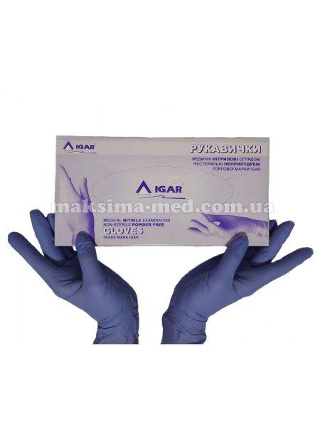 Перчатки нитриловые н/с, не/опудр, IGAR р. L (8-9), сиреневые, 100 пар (200 шт/уп)