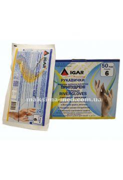 Перчатки латексные хирургические стерильные опудр River Glovers р. 6,0, 50 пар (100 шт/уп)