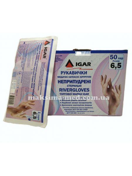 Перчатки латексные хирургические стерильные н/опудр River Glovers р. 6,5, 50 пар (100 шт/уп)