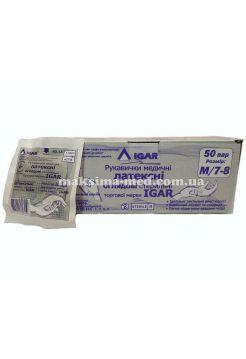 Перчатки латексные смотровые стерильные IGAR р. M (7-8) 50 пар (100 шт/уп)