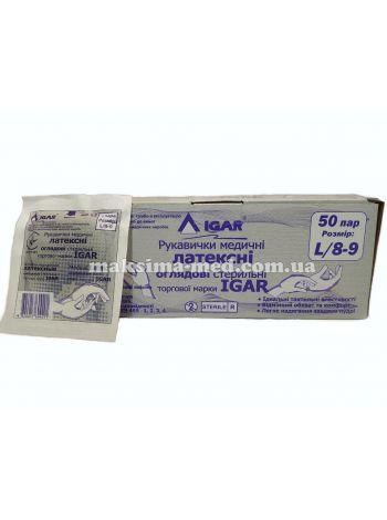 Перчатки латексные смотровые стерильные IGAR р. L  (8-9) 50 пар (100 шт/уп)